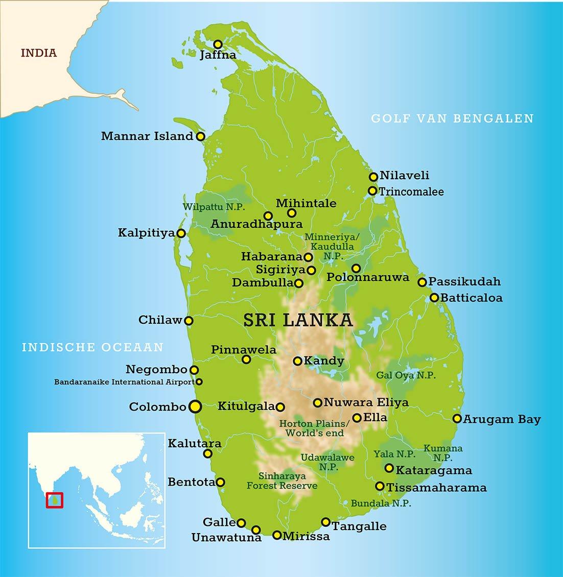 Sri Lanka landkaart