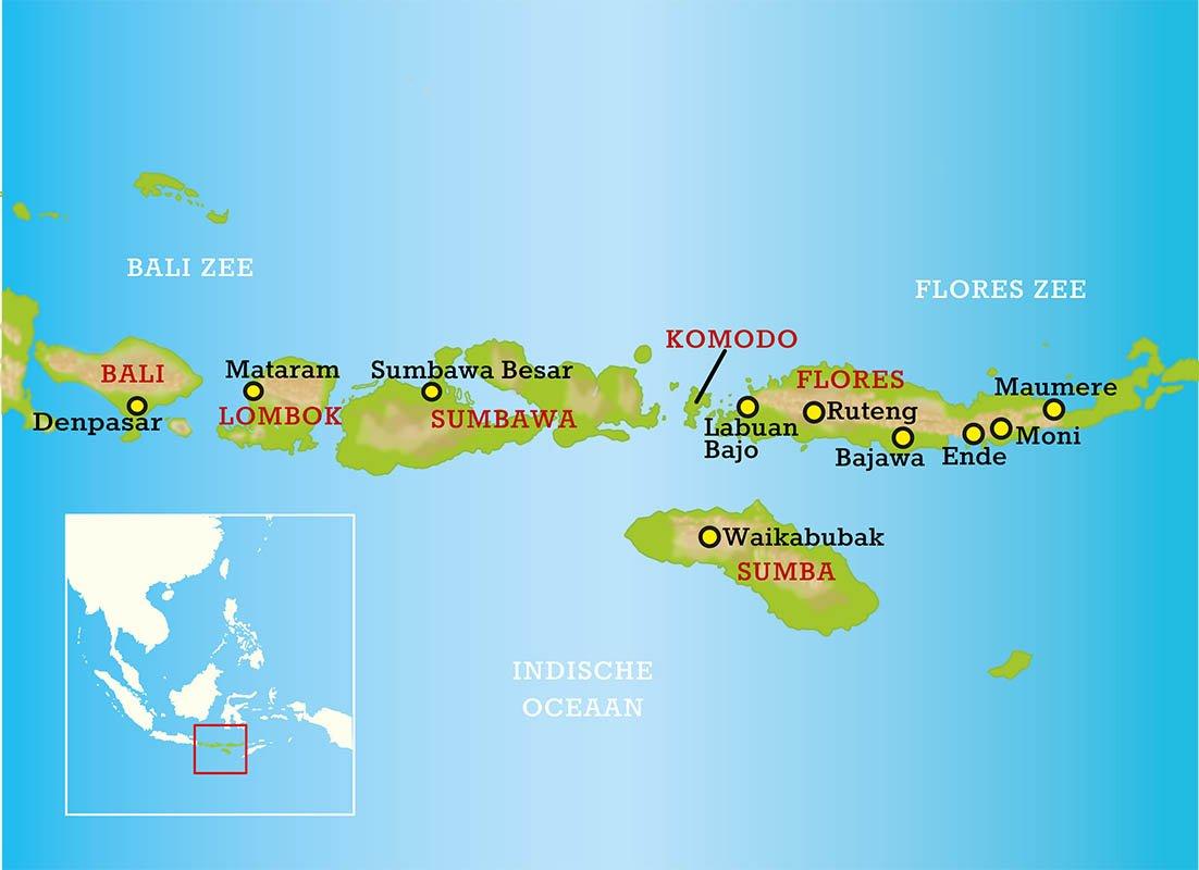 Eilandkaart Bali, Lombok, Sumbawa, Komodo en Flores