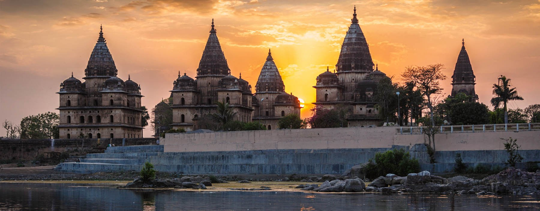 in, orchha, view of royal cenotaphs of orchha over betwa river.jpg