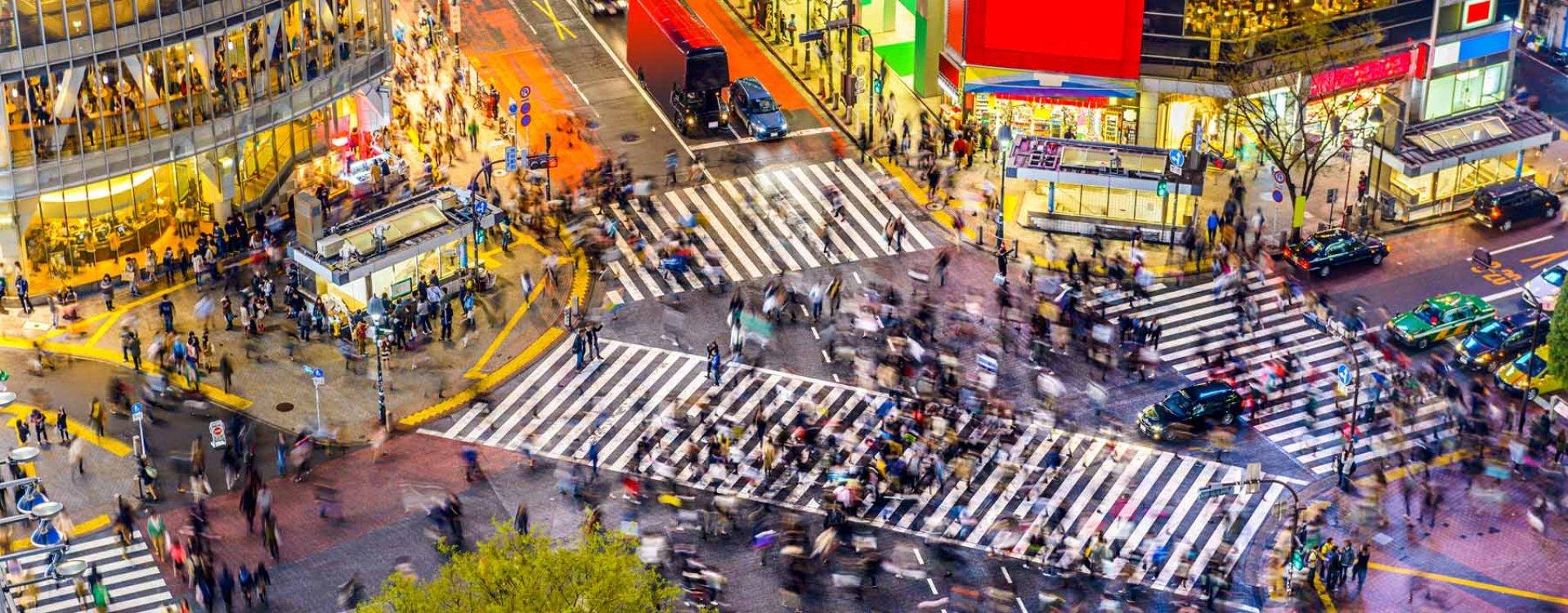 Tokyo, crosswalk in wijk Shibuya