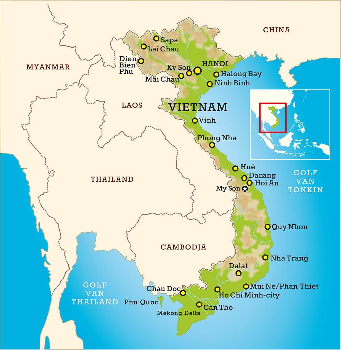 Vietnam lege routekaart